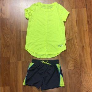 Girls size 6 set of gap neon shirt and puma shorts